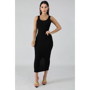Black Scoop Neck Midi Dress